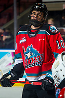 KELOWNA, BC - DECEMBER 18:  Jackson DeSouza #10 of the Kelowna Rockets warms up on the ice against the Vancouver Giants at Prospera Place on December 18, 2019 in Kelowna, Canada. (Photo by Marissa Baecker/Shoot the Breeze)
