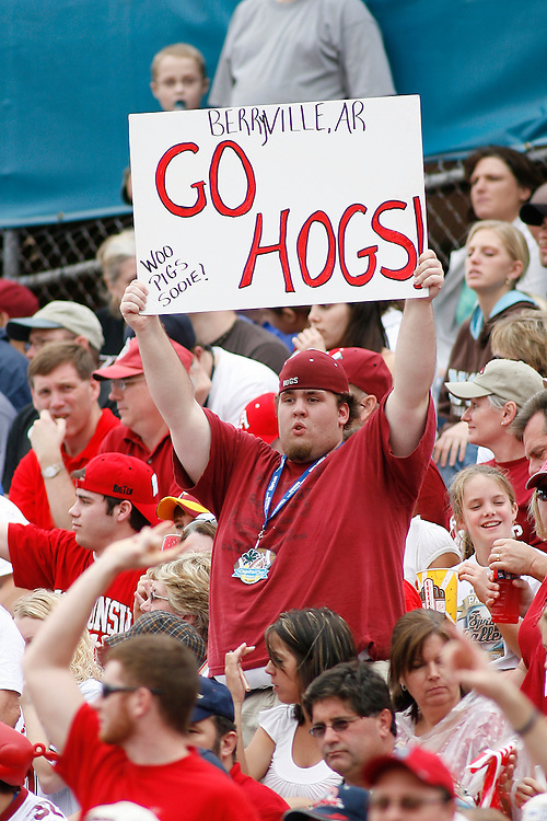 A University of Arkansas fan holds a sign during the Wisconsin Badgers 17-14 victory over the Arkansas Razorbacks in the Capital One Bowl at the Florida Citrus Bowl Stadium in Orlando, Florida on January 1, 2007.