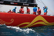 China Team prepares under sail for America's Cup fleet race; Valencia, Spain.