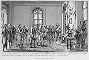 Consuls Cambaceres and Le Brun presenting the First Consul Napoleon his nomination as Emperor of France. Engraving.