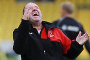 Gary Johnson celebrates the win at the Vanarama National League match between Torquay United and Cheltenham Town at Plainmoor, Torquay, England on 29 August 2015. Photo by Antony Thompson.