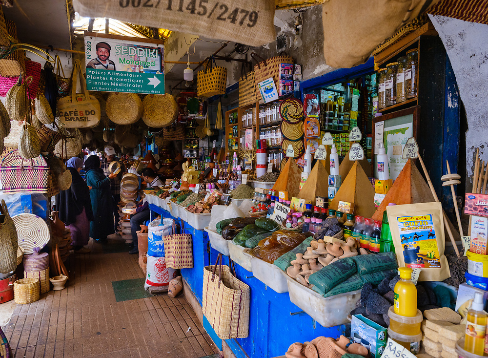 ESSAOUIRA, MOROCCO - CIRCA MAY 2018:  View  of typical alleyway and shops in the citadel of Essaouira.