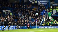 Football - 2018 / 2019 Premier League - Chelsea vs. Brighton & Hove Albion<br /> <br /> Callum Hudson-Odoi (Chelsea FC)  rises hoigh to head towards the Brighton goal at Stamford Bridge <br /> <br /> COLORSPORT/DANIEL BEARHAM