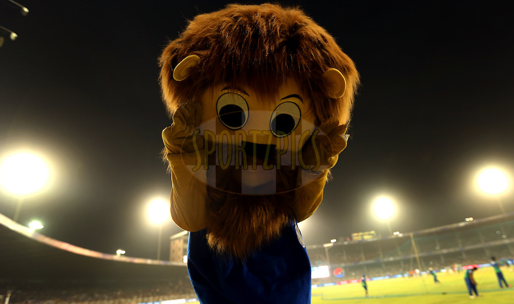 Rajasthan Royals Mascot during match 22 of the Pepsi IPL 2015 (Indian Premier League) between The Rajasthan Royals and The Royal Challengers Bangalore held at the Sardar Patel Stadium in Ahmedabad , India on the 24th April 2015.<br /> <br /> Photo by:  Sandeep Shetty / SPORTZPICS / IPL
