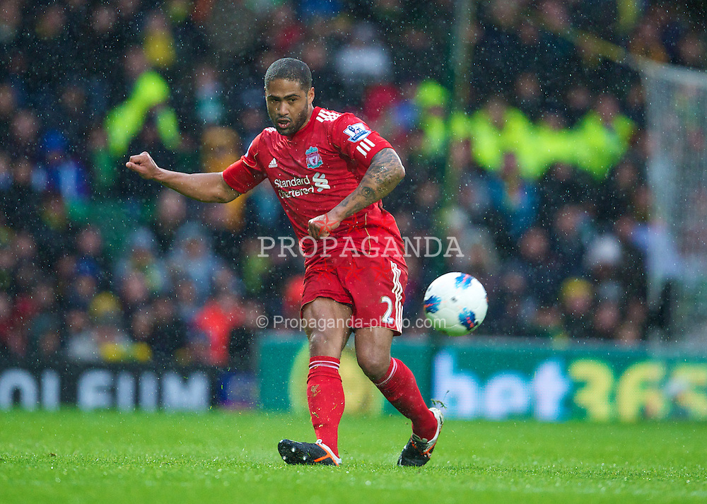 NORWICH, ENGLAND - Saturday, April 28, 2012: Liverpool's Glen Johnson in action against Norwich City during the Premiership match at Carrow Road. (Pic by David Rawcliffe/Propaganda)