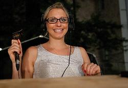 Erika Fabjan as TV commentator during women final match of Slovenian National Championship in beach volleyball Kranj 2012, on June 30, 2012 in Kranj, Slovenia. (Photo by Vid Ponikvar / Sportida.com)