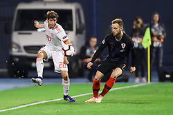Sergi Roberto of Spain vs Ivan Rakitic of Croatia during the UEFA Nations League football match between Croatia and Spain, on November 15, 2018, at the Maksimir Stadium in Zagreb, Croatia. Photo by Morgan Kristan / Sportida