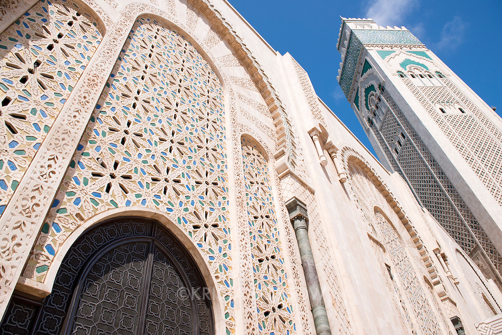 The Hassan II Mosque in Casablanca is the largest mosque in Morocco and is built on a promontory overlooking the Atlantic Ocean.