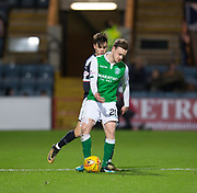 24th January 2018, Dens Park, Dundee, Scottish Premiership, Dundee versus Hibernian; Hibernian's Brandon Barker and Dundee's Jesse Curran