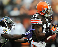 Wide receiver Braylon Edwards' problems continued on this dropped pass on a deep ball in the fourth quarter while chased by Sean Jones of Baltimore.