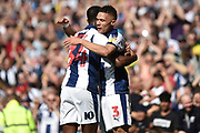 West Bromwich Albion defender Kieran Gibbs (3) scores a goal and celebrates  with West Bromwich Albion midfielder Rekeem Harper (34) 1-0 during the EFL Sky Bet Championship match between West Bromwich Albion and Hull City at The Hawthorns, West Bromwich, England on 19 April 2019.
