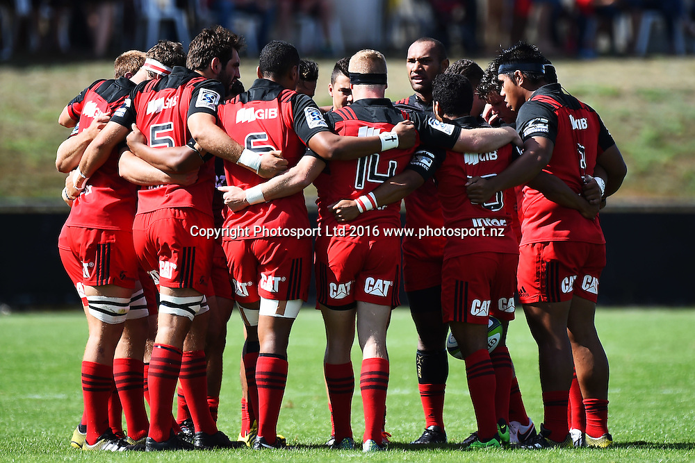 Crusaders team during their Super Rugby Pre-Season game Crusaders v Hurricanes. Lansdowne Park, Blenheim, New Zealand. Friday 19 February 2016. Copyright Photo: Chris Symes / www.photosport.nz