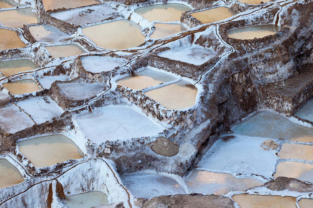 The Maras Salt Ponds, Peru. The ponds are both impressive from an engineering perspective, and beautiful aestetically.