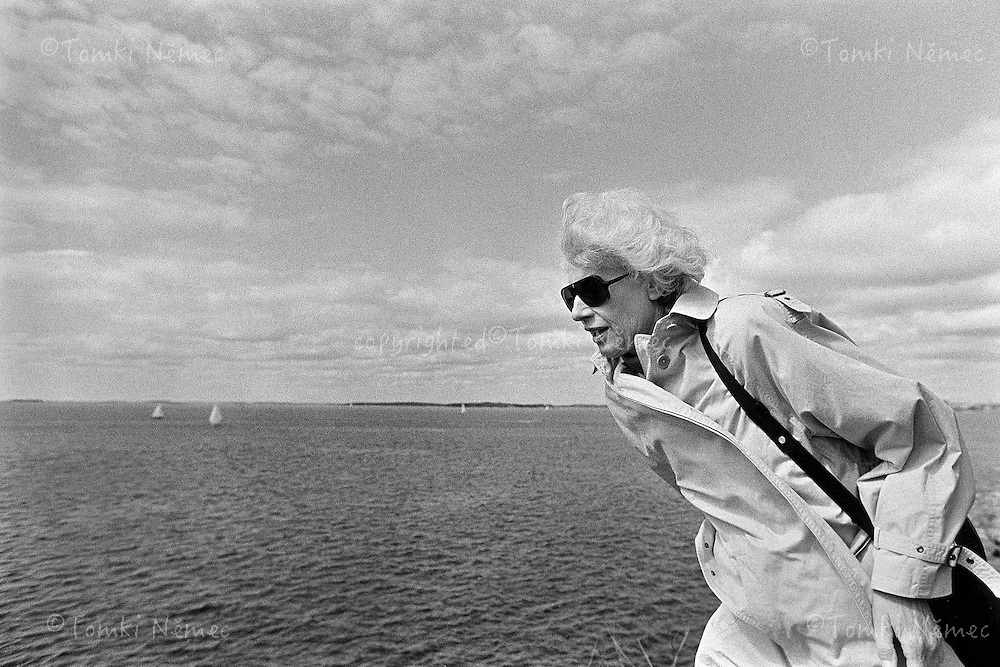 Olga Havel - first wife of Vaclav Havel - walking on the coast in Norway, 1991