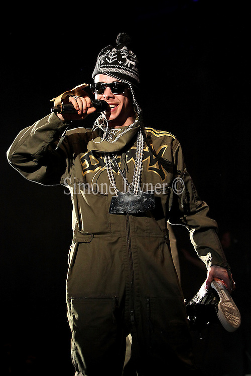 Dappy of N-Dubz performs live at Hammersmith Apollo on April 17, 2010 in London, England. (Photo by Simone Joyner)