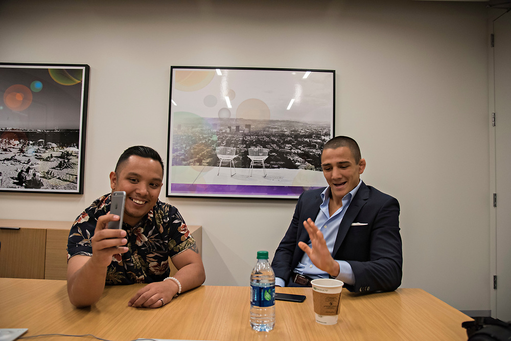 June 8, 2017 / Hollywood, Calif.<br /> <br /> Aaron Pico, 20, answers questions about the best movie he's seen recently during a Facebook Live interview with John Aguon, who does digital media for Bellator (Melissa Lyttle for ESPN)