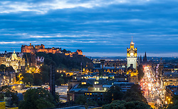 View of famous Edinburgh skyline at dusk in Edinburgh, Scotland, United Kingdom.