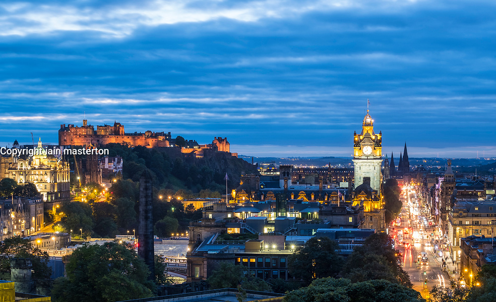 View of famous Edinburgh skyline at dusk in Edinburgh, Scotland, United Kingdom.