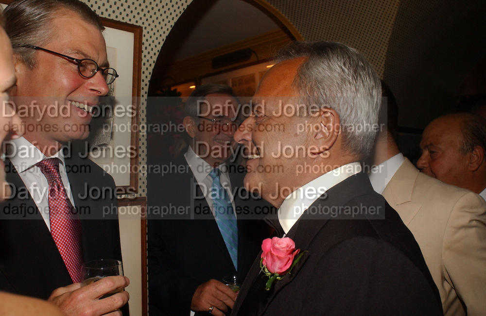 Richard Johnson, King Constantine of Greece and Taki  Theodorako, Party given by Taki and Alexandra Theodorakopoulos. Annabels. London. 26 September 2006. -DO NOT ARCHIVE-© Copyright Photograph by Dafydd Jones 66 Stockwell Park Rd. London SW9 0DA Tel 020 7733 0108 www.dafjones.com