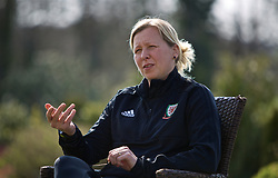 CARDIFF, WALES - Monday, April 1, 2019: Wales' manager Jayne Ludlow during a media session at the Vale Resort ahead of a friendly against the Czech Republic. (Pic by David Rawcliffe/Propaganda)