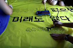 INDIAN OCEAN 27MAR13 - Banner painting  aboard the Greenpeace ship  Esperanza in the Indian Ocean.<br /> <br /> jre/Photo by Jiri Rezac / Greenpeace