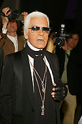 """NEW YORK - JUNE 2: Designer Karl Lagerfeld attends the """"Unveil The Night With Dom Perignon And Karl Lagerfeld"""" event at Skylight Studios June 2, 2005 in New York City.   (Photo by Matthew Peyton)"""