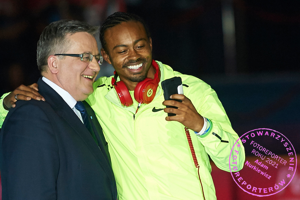 (L) Bronislaw Komorowski - President of Poland and (R) Aries Merritt from USA while opening ceremony during athletics meeting Pedro's Cup at Atlas Arena in Lodz, Poland.<br /> <br /> Poland, Lodz, February 17, 2015<br /> <br /> Picture also available in RAW (NEF) or TIFF format on special request.<br /> <br /> For editorial use only. Any commercial or promotional use requires permission.<br /> <br /> Adam Nurkiewicz declares that he has no rights to the image of people at the photographs of his authorship.<br /> <br /> Mandatory credit:<br /> Photo by &copy; Adam Nurkiewicz / Mediasport