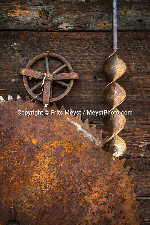 Yukon Territory, Canada, September 2014. Old mining tools at Clain 33 at Bonanza creek in Dawson City. Gold Rust! Remnants of the Klondyke Gold Rush Left in the Yukon Landscape. The Yukon Territory received world fame during the Klondike Gold Rush in 1898.  Photo by Frits Meyst / MeystPhoto.com