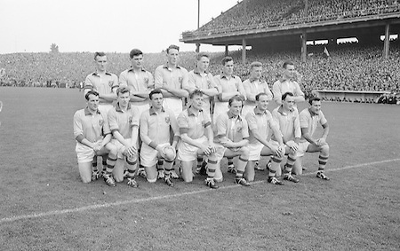 All Ireland Senior Football Championship Final, Kerry v Roscommon, Kerry 1-12 Roscommon 1-6, 23.09.1962, 09.23.1962, 23rd September 1962, 23091962AISFCF, ..The Roscommon Senior Team (runners up),.Back row (from left) Ronan Craven, John Kelly, Bernie Kyne, Cyril Mahon, Aidan Brady, Eamonn Curley, Oliver MOran. Front row (from left) Tony Whyte, George Geraghty, Gerry Reilly, Gerry O'Malley (capt), John Joe Breslin, Don Feeley, John Lynch,..Referee E Moules (Wicklow),.Captain  S g Sheehy,.