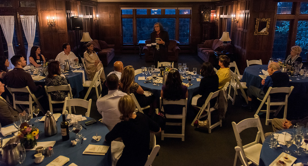 The 2016 graduates of the doctoral professional leadership studies department convene for a banquet celebrating their accomplishments on May 5th, 2016 in Gonzaga University's Bozarth mansion. (Photo by Edward Bell)