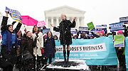 Scenes from Hobby Lobby rally at the US Supreme Court in Washington DC on March 25, 2014. <br /> <br /> Photo Credit: Ryan Brown