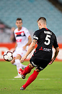 SYDNEY, NSW - JANUARY 18: Western Sydney Wanderers defender Brendan Hamill (5) kicks the ball at the Hyundai A-League Round 14 soccer match between Western Sydney Wanderers and Adelaide United at ANZ Stadium in NSW, Australia 18 January 2019. Image by (Speed Media/Icon Sportswire)
