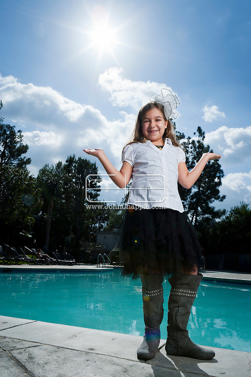February 12th, 2012, Los Angeles, California. Budding comic actress Julia Cuomo, aged nine from Hollywood, Florida. PHOTO © JOHN CHAPPLE / www.johnchapple.com.