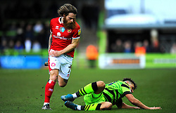 Stuart Sinclair of Walsall fouls Josh March of Forest Green Rovers- Mandatory by-line: Nizaam Jones/JMP - 08/02/2020 - FOOTBALL - New Lawn Stadium - Nailsworth, England - Forest Green Rovers v Walsall - Sky Bet League Two