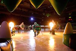 Brock McBride (HDD Tilia Olimpija, #10) during ice-hockey match between HDD Tilia Olimpija and SAPA Fehervar AV19 at sixth match in Quarterfinal  of EBEL league, on March 1, 2012 at Hala Tivoli, Ljubljana, Slovenia. (Photo By Matic Klansek Velej / Sportida)