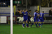 AFC Wimbledon defender Paul Robinson (6) celebrates during the The Emirates FA Cup 1st Round Replay match between AFC Wimbledon and Bury at the Cherry Red Records Stadium, Kingston, England on 15 November 2016. Photo by Stuart Butcher.
