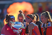 The Netherlands celebrate with the trophy during the Vitality Hockey Women's World Cup 2018 Finals Gold Medal match between the Netherlands and Ireland, at the Lee Valley Hockey and Tennis Centre, QE Olympic Park, United Kingdom on 5 August 2018. Picture by Martin Cole.