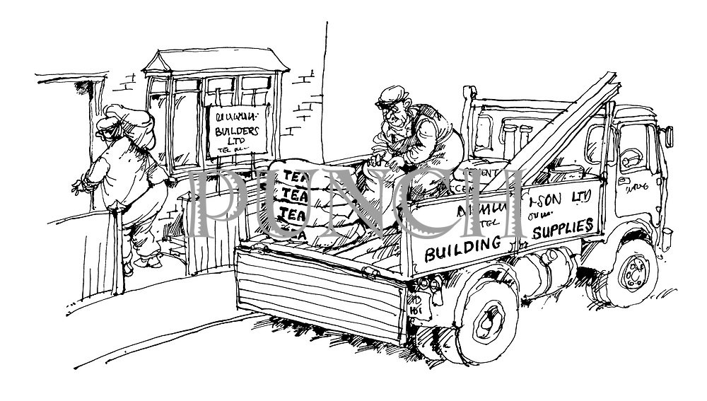 (Builders beginning work on a house unloading sacks of tea from a truck marked Building Supplies)