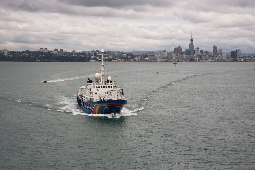 Jan. 25, 2007. Greenepeace's M.Y. Esperanza departs from the port of Auckland, New Zealand.