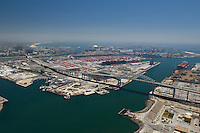 Aerial view of industrial area and docks in California