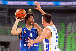 Milos Teodosic of Serbia and Aleksej Nesovic of BiH at friendly match between BIH and Serbia for Adecco Cup 2011 as part of exhibition games before European Championship Lithuania on August 8, 2011, in SRC Stozice, Ljubljana, Slovenia. (Photo by Urban Urbanc / Sportida)