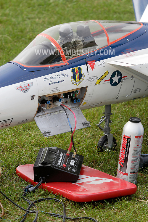 New Hampton, New York - A pilot is visible in the cockpit of a remote controlled jet airplane at a fly-in sponsored by the Wawayanda Flying Club on June 5, 2010.