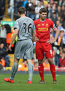 Paul Dummett of Newcastle United is sent off by referee Phil Dowd after his late tackle on Luis Suarez during the Barclays Premier League match at Anfield, Liverpool.<br /> Picture by Michael Sedgwick/Focus Images Ltd +44 7900 363072<br /> 11/05/2014