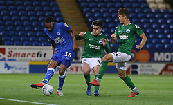 Rhys Bennett of Peterborough United is closed down by Aaron Connolly and Jordan Davies of Brighton & Hove Albion - Mandatory by-line: Joe Dent/JMP - 09/10/2018 - FOOTBALL - ABAX Stadium - Peterborough, England - Peterborough United v Brighton and Hove Albion U21 - Checkatrade Trophy