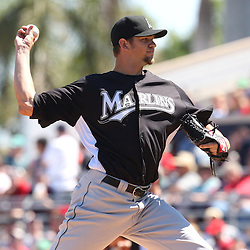 March 12, 2011; Fort Myers, FL, USA; Florida Marlins starting pitcher Josh Johnson (55) during a spring training exhibition game against the Boston Red Sox at City of Palms Park. The Red Sox defeated the Marlins 9-2.  Mandatory Credit: Derick E. Hingle