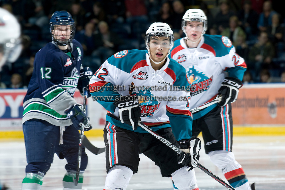 KELOWNA, CANADA, JANUARY 27: Tyrell Goulbourne #12 of the Kelowna Rockets skate son the ice as the Seattle Thunderbirds visit the Kelowna Rockets on January 27, 2012 at Prospera Place in Kelowna, British Columbia, Canada (Photo by Marissa Baecker/Getty Images) *** Local Caption ***