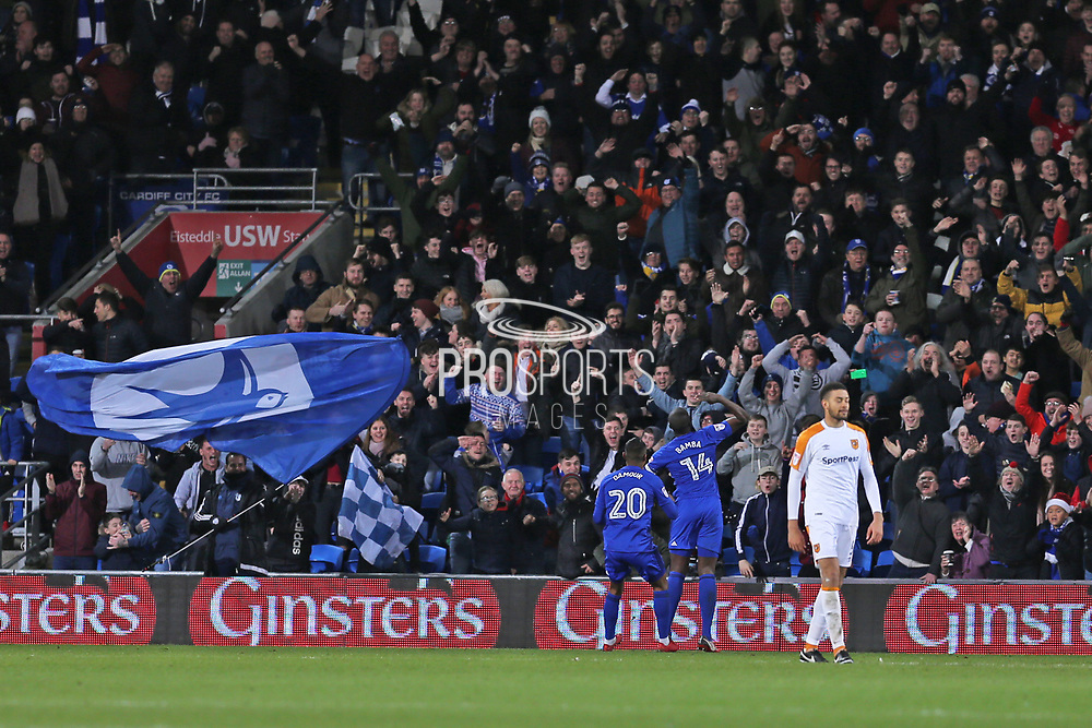 Cardiff City  Souleymane Bamba (14) scores and celebrates his goal 1-0 second  half during the EFL Sky Bet Championship match between Cardiff City and Hull City at the Cardiff City Stadium, Cardiff, Wales on 16 December 2017. Photo by Gary Learmonth.