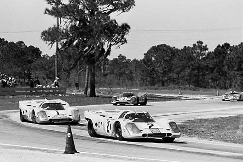 Trio of Porsche 917s lead Ferrari 312P at 1971s Sebring 12 hour race; photo by Pete Lyons