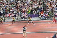 STRATFORD - AUGUST 09 Usain Bolt wins Gold, Yohan Blake wins Silver and Warren Weir wins Bronze for Jamaica in the Men's 200m Final, Olympic Stadium, Stratford, London, UK. August 09, 2012. (Photo by Richard Goldschmidt)
