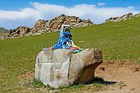 Mongolie, province de Ovorkhangai, vallée Orkhon classée Patrimoine Mondial de l'UNESCO, Kharkhorin, tortue sacree// Mongolia, Ovorkhangai, Kharkhorin, Orkhon valley, Unesco world heritage, sacred turtle